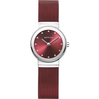 Reloj Bering Classic 10126-303 para mujer con correa milanesa roja y esfera roja, 5 ATM