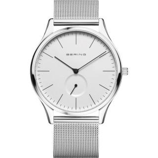Reloj Bering Classic 16641-004 para hombre con correa milanesa y esfera blanca, 3 ATM