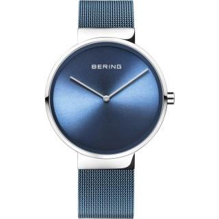 Relógio Bering Classic 14539-308 para mulher com pulseira milanesa azul e mostrador azul, 5 ATM