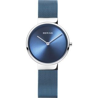 Reloj Bering Classic 14531-308 para mujer con correa milanesa azul y esfera azul, 5 ATM