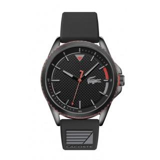 Relógio Lacoste 2011029 Nautical para homem com pulseira de silicone preto e mostrador preto, 5 ATM