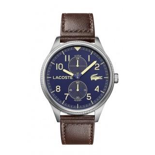 Relógio Lacoste 2011040 Continental para  homem com pulseira de couro marrom e mostrador azul, 5 ATM
