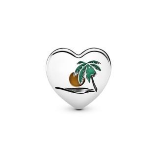 Charm Pandora 792015_E032 de plata en forma de corazón con palmera