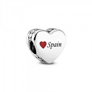 "Charm Pandora 792015_E033 de plata con corazón y escrito ""Spain"""