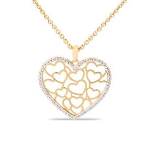 Collar bañado en oro de 3 micras en forma de corazones