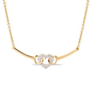 Colar banhado a ouro de 3 micras em forma de coração e infinito