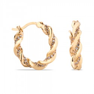 Brincos banhados a ouro de 3 micras em forma de aros trançados com zircônia