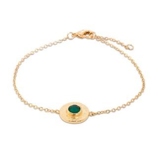Pulsera bañada en oro de 3 micras con detalle de piedra verde, 16 + 2 cm