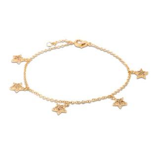 Pulsera bañada en oro de 3 micras en forma de 5 estrellas, 16 + 2 cm
