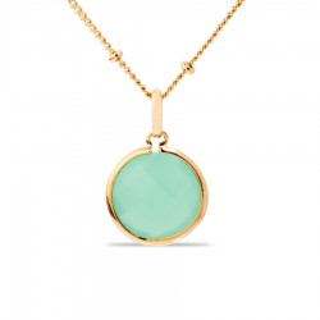 Collar bañado en oro de 3 micras con piedra verde, 36 + 2 +2 +2 cm