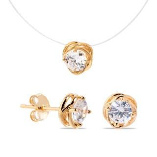 Conjunto de collar y pendientes bañado en oro de 3 micras en forma de hilo de pescar, 40 cm