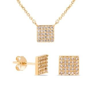 Conjunto de collar y pendientes bañado en oro de 3 micras con circonita cuadrada