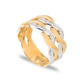 Anillo bañado en oro de 3 micras con detalle en forma de ondas con circonita