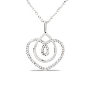 Colar de prata em forma de coração e círculo com zircônia