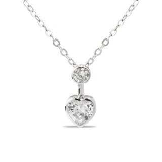 Colar de prata com coração, 42 + 3 cm