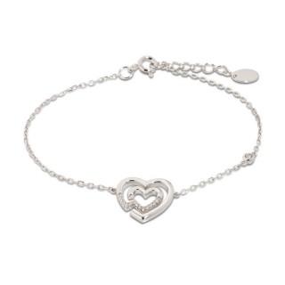 Pulseira dupla de prata com coração e zircônia
