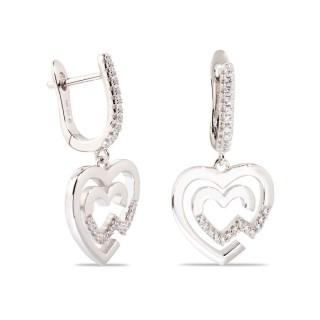 Brincos duplos de prata com coração e zircônia