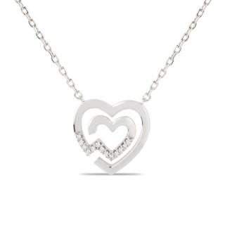 Colar duplo de prata com coração e zircônia, 42 + 3 cm