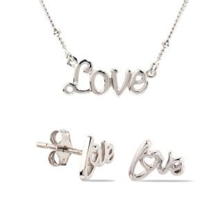 Conjunto de colar e brincos love de prata, 42 + 3 cm