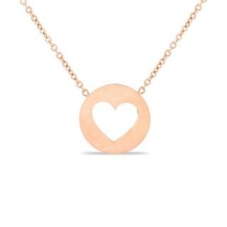 Collar de acero rosa con placa redonda y corazón, 42 + 3 cm