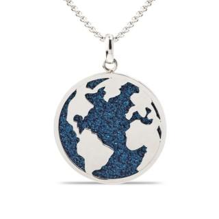 Collar de acero mapa mundo glitter azul, 42 + 3 + 3 cm
