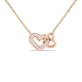Colar de aço rosa com corações entrelaçados com zircônia, 40 + 5 cm