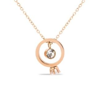 Collar de acero rosa con anillo pedido y circonita, 40 + 50 cm