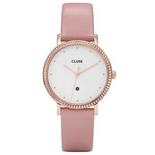 Relógio Cluse CL63002 La Couronne para mulher com pulseira de couro rosa e mostrador branco, 3 ATM