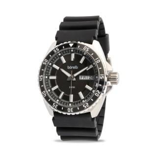 Reloj Borelli 03P19GL01-A Sport para hombre con correa de silicona negra y esfera negra, 20 ATM
