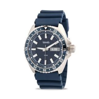 Reloj Borelli 03P19GL01-D Sport para hombre con correa de silicona azul y esfera azul, 20 ATM