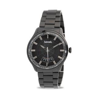 Reloj Borelli 03P13MB01-E Sport para hombre con correa de acero negro y esfera negra, 5 ATM