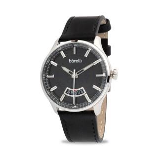 Reloj Borelli 03P13ML01-B Sport para hombre con correa de cuero negro y esfera negra, 5 ATM
