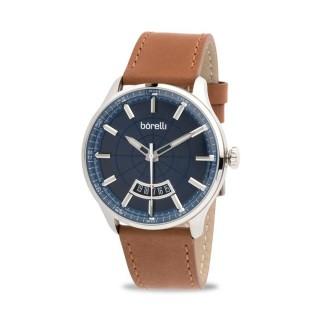 Reloj Borelli 03P13ML01-C Sport para hombre con correa de cuero marrón y esfera azul, 5 ATM