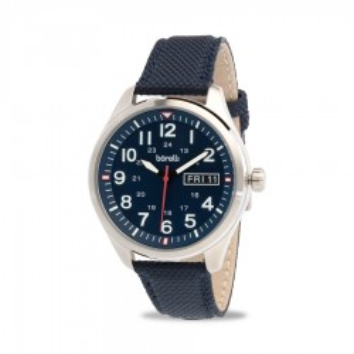 Reloj Borelli 03P20GL01-B Sport para hombre con correa de nylon azul y esfera azul, 5 ATM