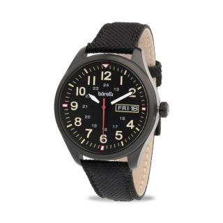 Reloj Borelli 03P20GL01-C Sport para hombre con correa de nylon negro y esfera negra, 5 ATM