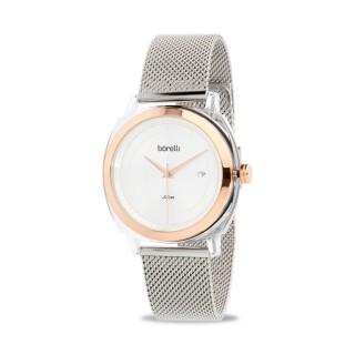 Reloj Borelli 03L80FB01-A Fashion para mujer con correa milanesa y esfera plata, 3 ATM