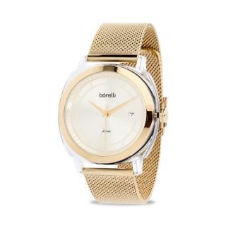 Reloj Borelli 03L80FB01-B Fashion para mujer con correa milanesa chapada y esfera dorada, 3 ATM
