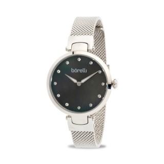 Reloj Borelli K041ABL-N2BA-B2B Fashion para mujer con correa milanesa y esfera gris, 3 ATM
