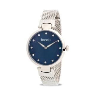 Reloj Borelli K041ADL-N2BA-B2B Fashion para mujer con correa milanesa y esfera azul, 3 ATM