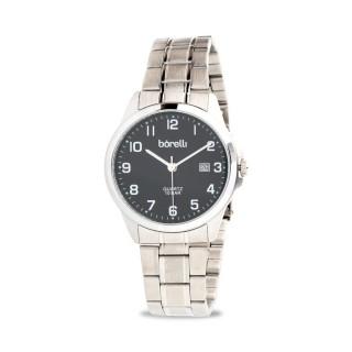Reloj Borelli SS16849G14 Classic para hombre con correa de acero y esfera negra, 10 ATM