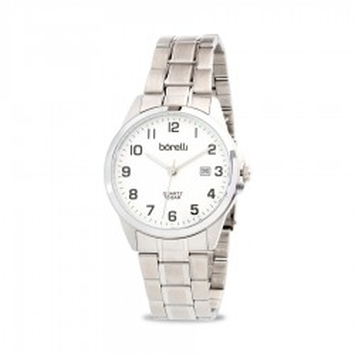 Reloj Borelli SS16849G13 Classic para hombre con correa de acero y esfera plata, 10 ATM