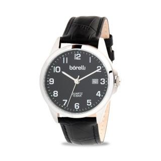 Reloj Borelli SL16849G16 Classic para hombre con correa de cuero negro y esfera negra, 10 ATM