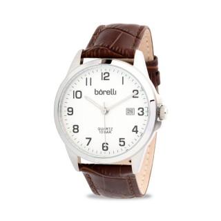 Reloj Borelli SL16849G15 Classic para hombre con correa de cuero marrón y esfera plata, 10 ATM
