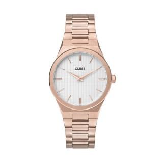 Reloj Cluse CW0101210001 Vigoureux para mujer con correa de acero rosa y esfera blanca, 5 ATM