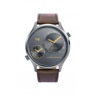 Relógio Mark Maddox HC0108-16 Dual para homem com pulseira de couro marrom e mostrador preto, 3 ATM