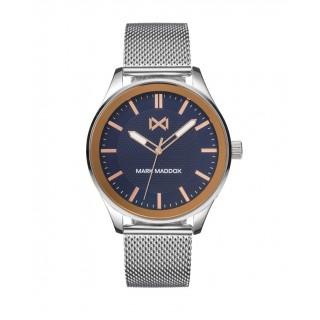 Relógio Mark Maddox HM7139-37 Midtown para homem com pulseira milanesa e mostrador azul, 5 ATM