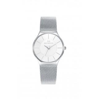 Relógio Mark Maddox MM0020-19 para mulher com pulseira milanesa e mostrador branco, 3 ATM