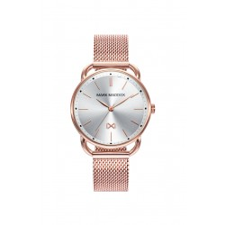 Reloj Mark Maddox MM7117-07 para mujer con correa milanesa rosa y esfera plata, 5 ATM