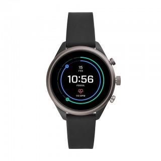 Relógio Fossil Connect FTW6024 para mulher com pulseira de silicone preta, 5 ATM