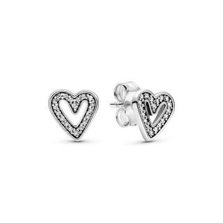 Pendientes Pandora 298685C01 de plata en forma de corazón brillante con circonita
